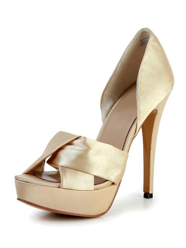 Classical Women Stiletto Heel Silk Peep Toe Platform Gold Wedding Shoes