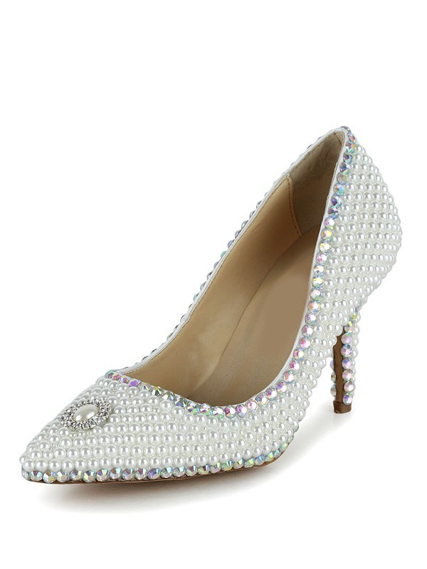 Classical Women Closed Toe Stiletto Heel Patent Leather Pearl White Wedding Shoes