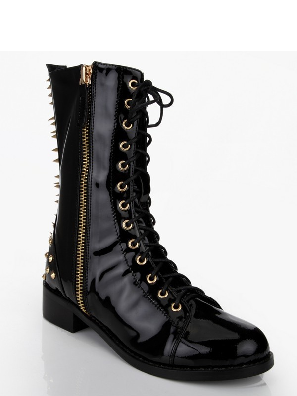Hot Sale Women Patent Leather Chunky Heel Rivet Mid-Calf Black Boots