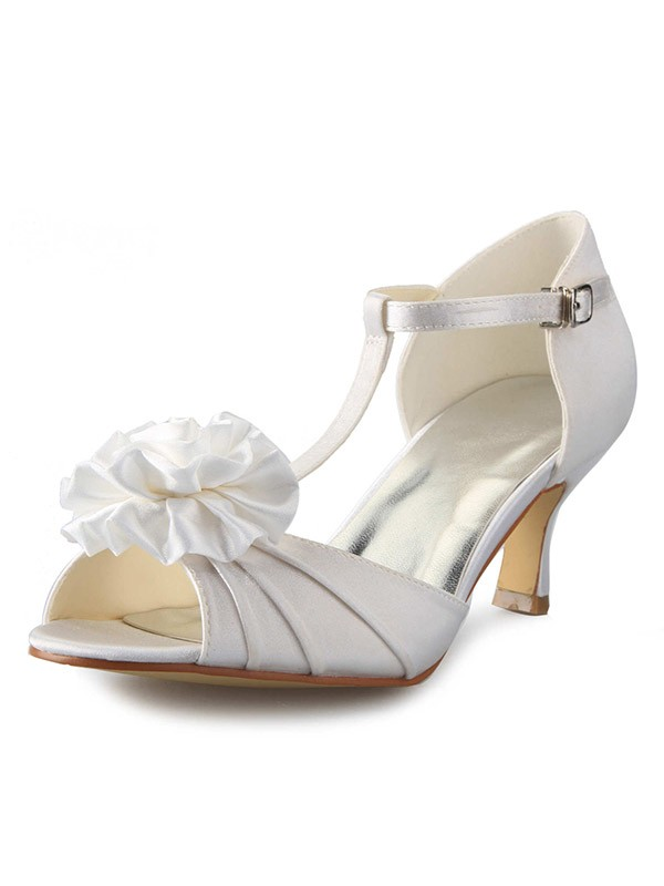 Classical Women Satin Stiletto Heel T-Strap Peep Toe Flower Dance Shoes