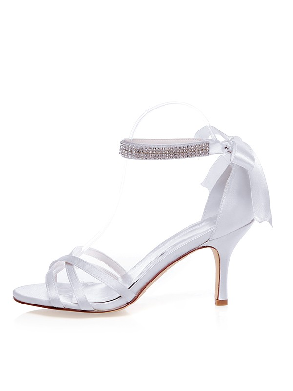 Beautiful Women Satin Peep Toe Stiletto Heel Silk Wedding Shoes