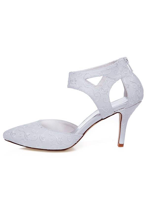 Beautiful Women Satin Closed Toe Spool Heel Zipper Wedding Shoes