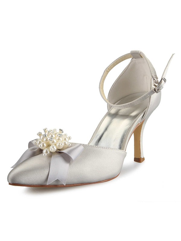 Classical Women Spool Heel Satin Closed Toe Pearl White Wedding Shoes