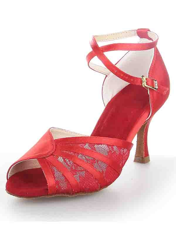 New Women Stiletto Heel Satin Peep Toe Buckle Dance Shoes
