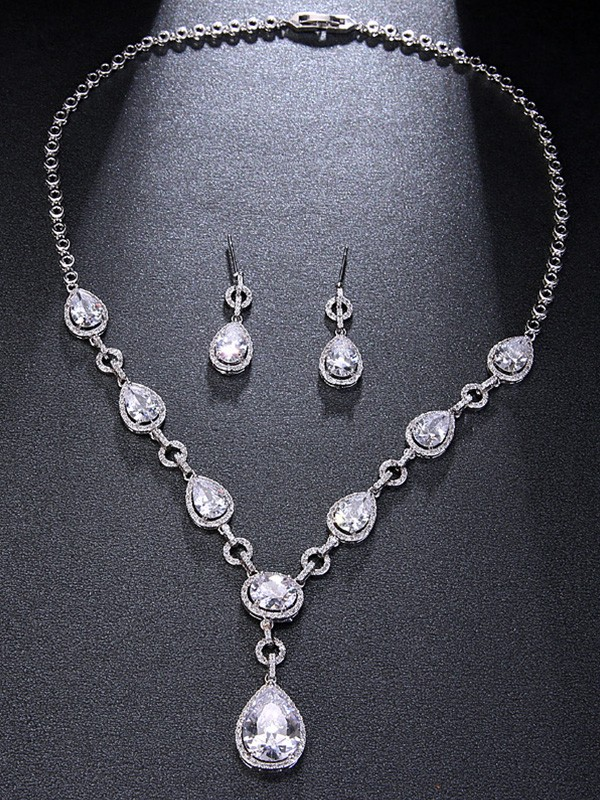 New Hot Sale Alloy Rhinestone With Water Drop Jewelry Set
