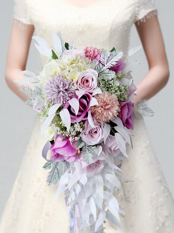 Hot Sale Colorful Cascade Silk Flower Wedding Bouquets