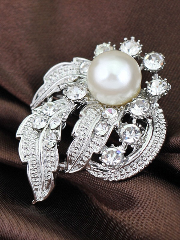 Women's Fashion Vintage Alloy With Rhinestone/Imitation Pearl Wedding Brooch