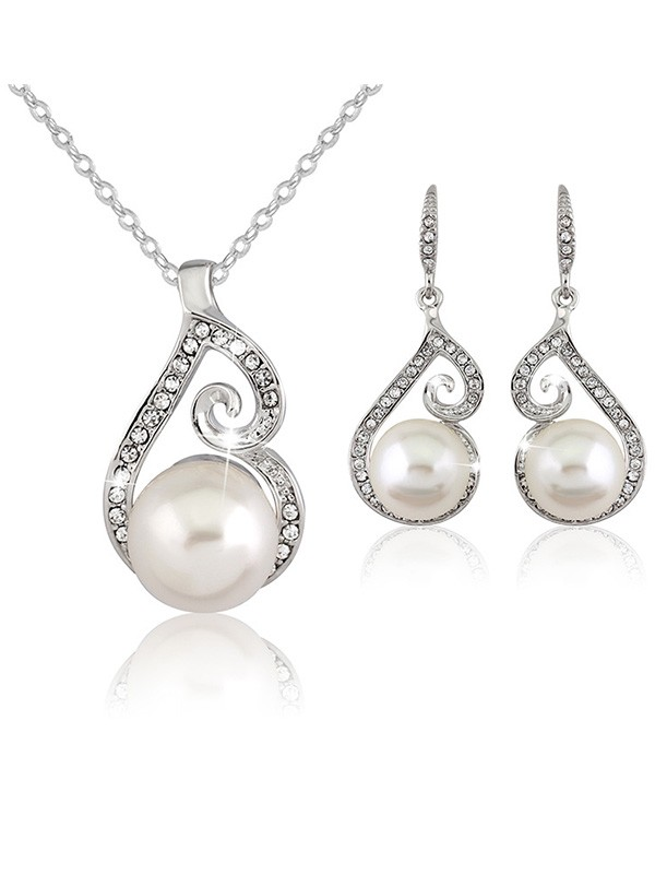 New Hot Sale Alloy With Pearl Wedding Bridal Jewelry Set