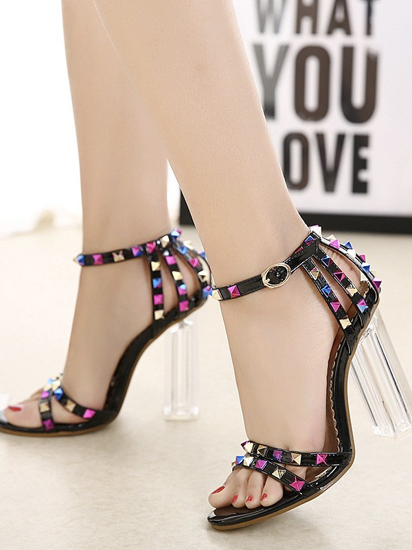 Cheap Women Patent Leather Peep Toe Chunky Heel With Rivet Sandals