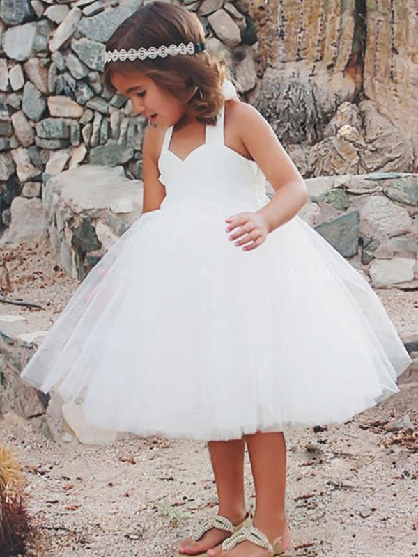 Elegant A-Line Sleeveless Halter Tea-Length Tulle Flower Girl Dress