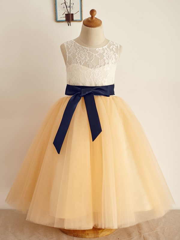 New A-Line Tulle Scoop Sleeveless Floor-Length Flower Girl Dress