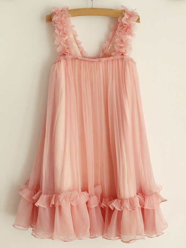 Stylish A-Line Straps Sleeveless Chiffon Knee-Length Flower Girl Dress