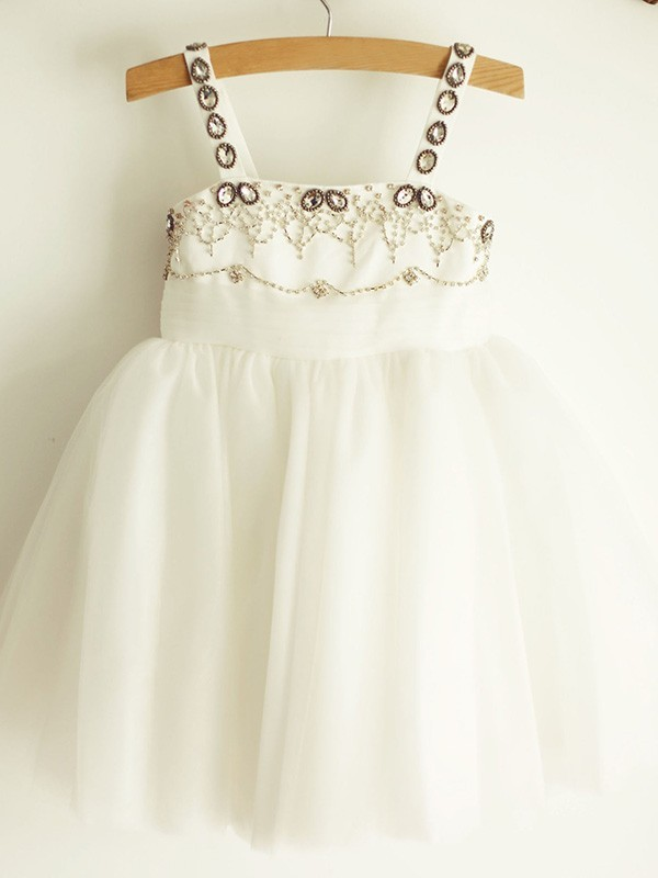 New A-Line Straps Sleeveless Tulle Knee-Length Flower Girl Dress
