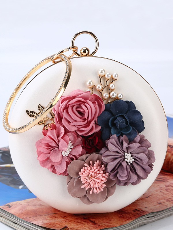 New Round PU With Flowers Evening/Party Handbag