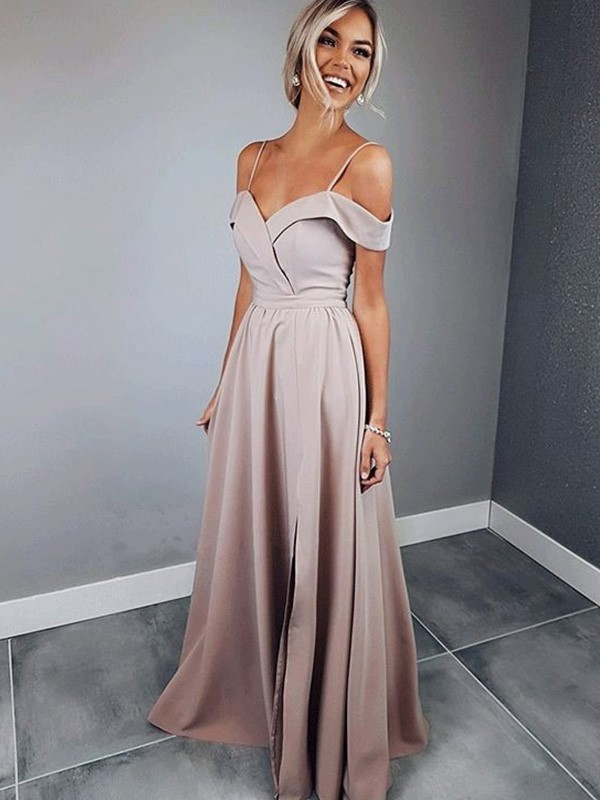 Exquisite A-Line Spaghetti Straps Short Sleeves Floor-Length Satin Dress