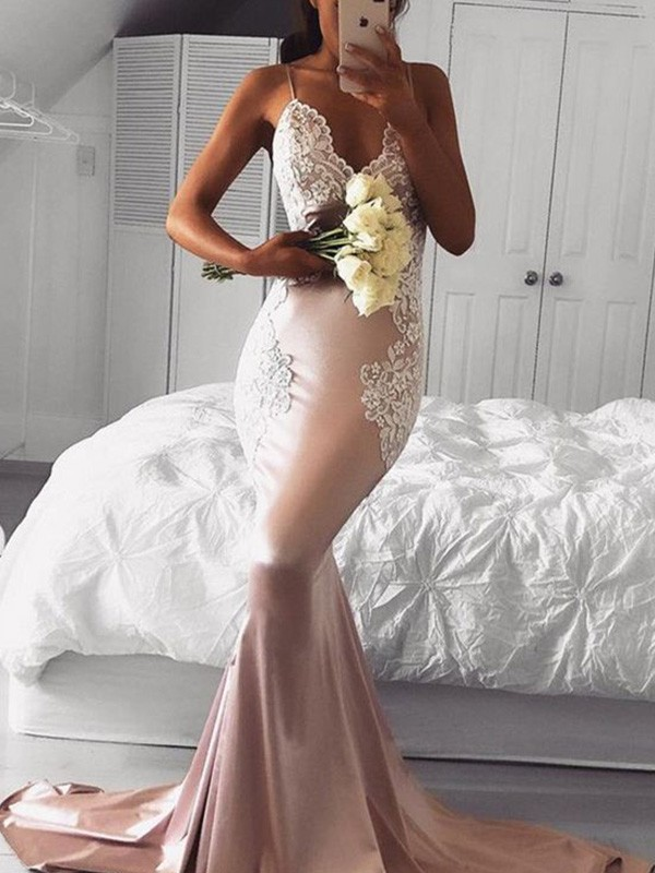 Glamorous Mermaid Straps V-neck Sleeveless Sweep/Brush Train Satin Dress
