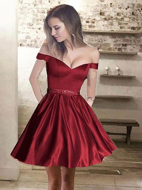 Fashion A-Line Off-the-Shoulder Satin Sleeveless Short/Mini Dress