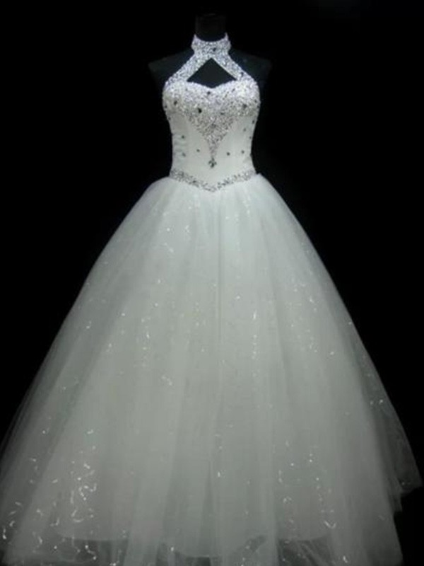 Amazing Ball Gown Halter Sleeveless Floor-Length Sequin Tulle Wedding Dress