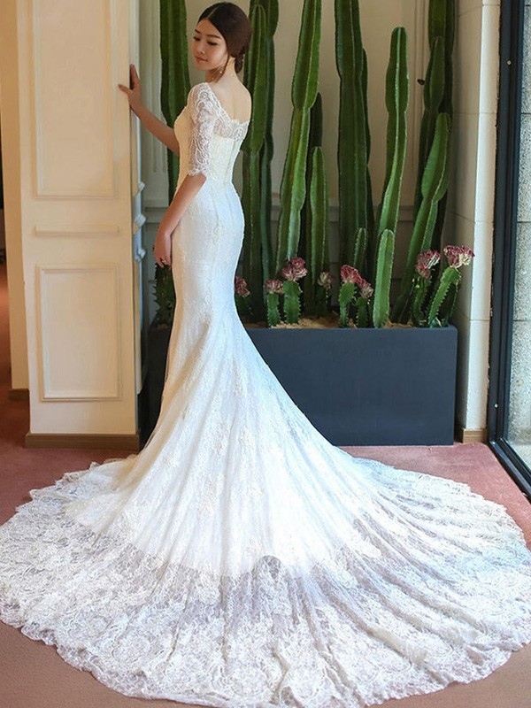 Beautiful Mermaid 1/2 Sleeves Square Cathedral Train Lace Wedding Dress