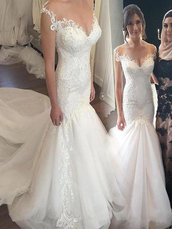 Affordable Mermaid Tulle Off-the-Shoulder Sleeveless Chapel Train Wedding Dress