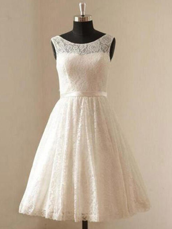 New A-Line Scoop Lace Sleeveless Knee-Length Wedding Dress