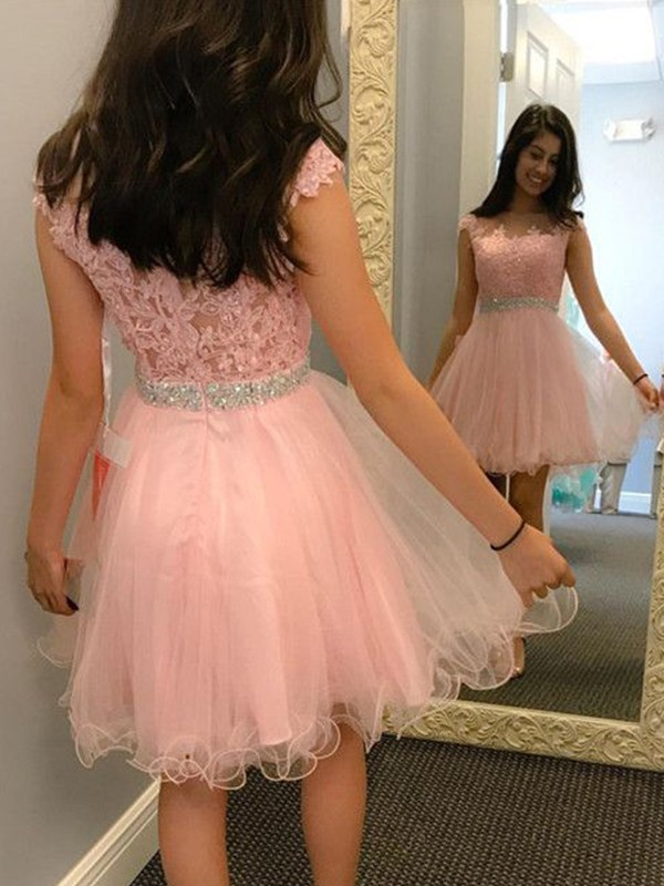 New A-Line Bateau Tulle Short Dress