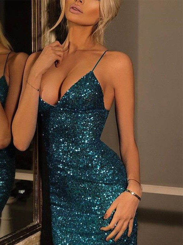 Amazing Sheath Spaghetti Straps V-neck Sequin Short Dress