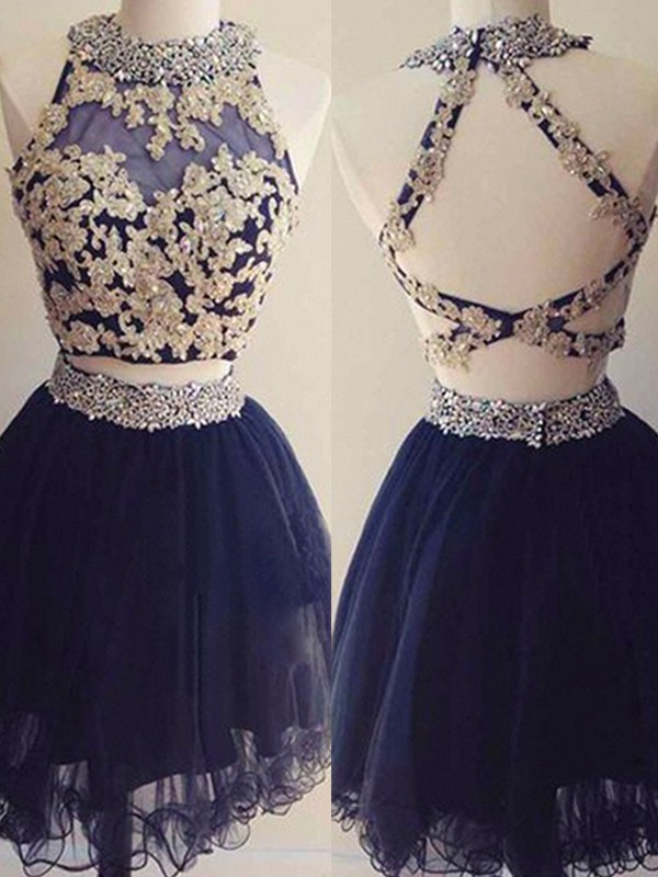 Stunning A-Line Halter Tulle Short Two Piece Dress