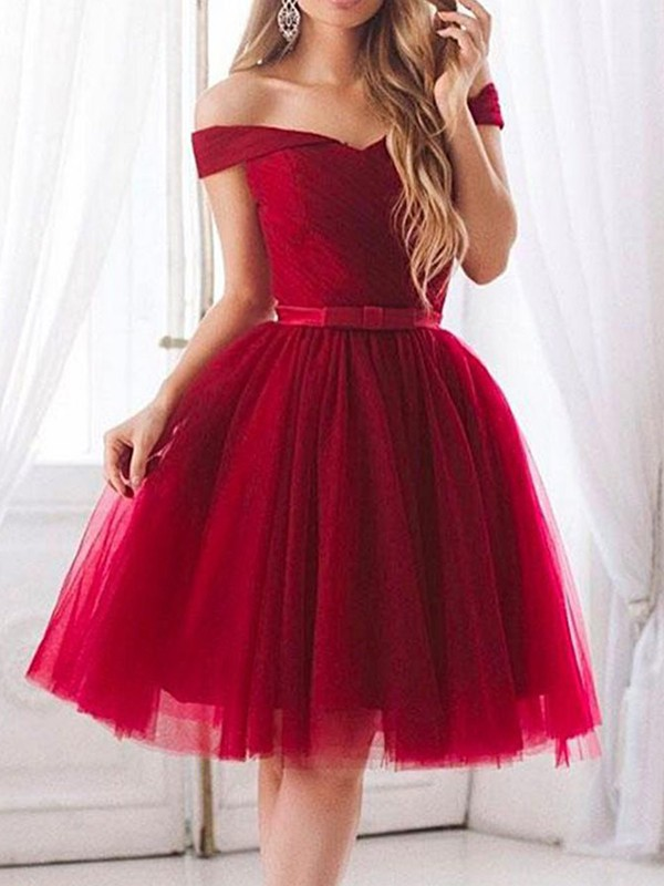 Stylish A-Line Tulle Off-the-Shoulder Short Dress