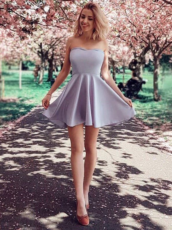 Amazing A-Line Strapless Satin Short Dress