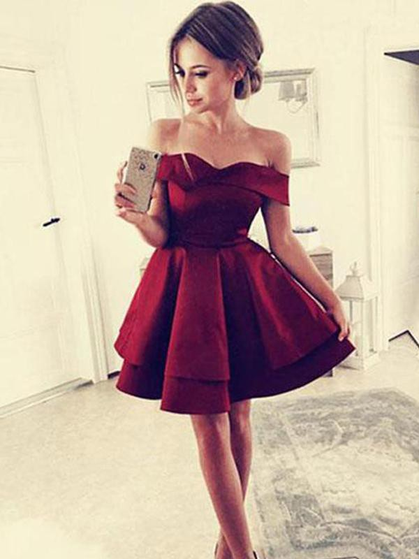 Perfect A-Line Satin Off-the-Shoulder Sleeveless Short Dress