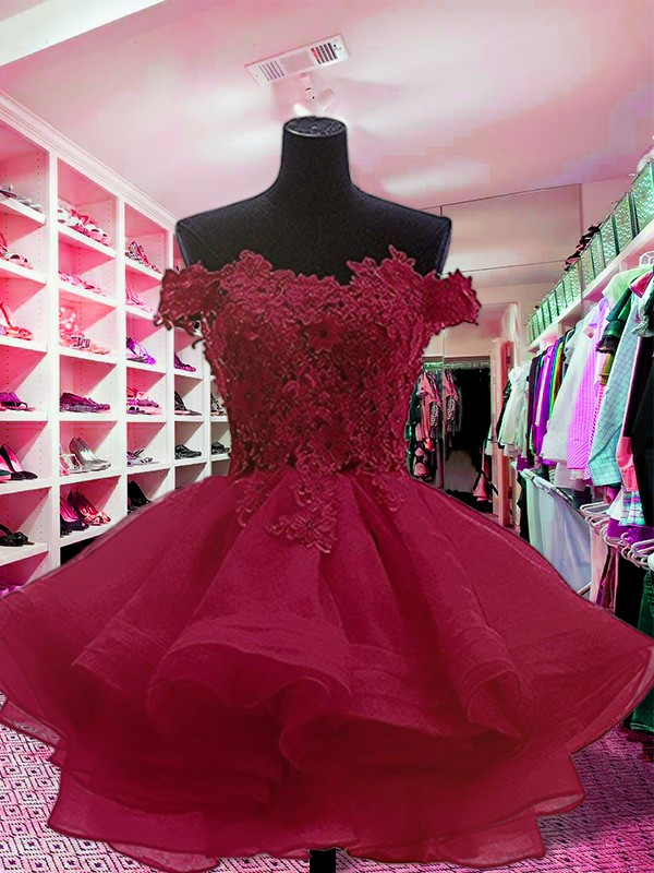 Nice Ball Gown Off-the-Shoulder Sleeveless Short Organza Dress
