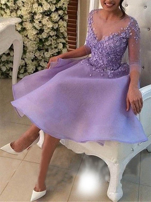 Beautiful A-Line V-neck 3/4 Sleeves Organza Knee-Length Dress