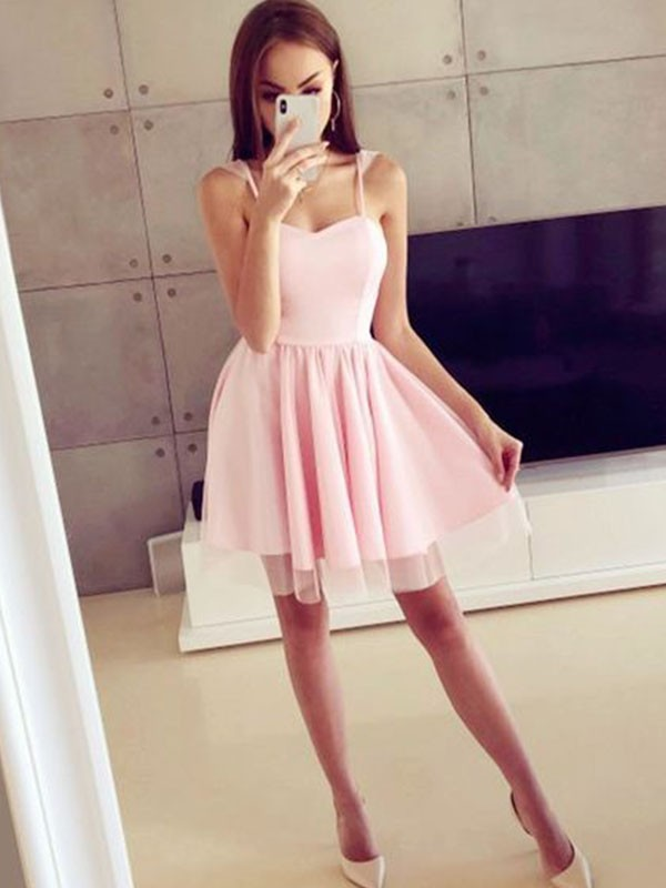 Perfect A-Line Satin Spaghetti Straps Sleeveless Short Dress