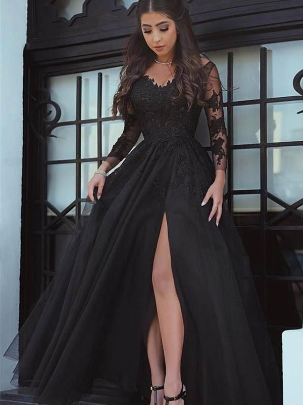 Amazing Ball Gown Long Sleeves Off-the-Shoulder Floor-Length Lace Dress