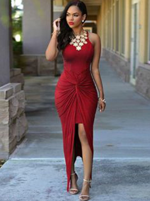 New Sheath Sleeveless Ankle-Length Spandex Asymmetrical Dress