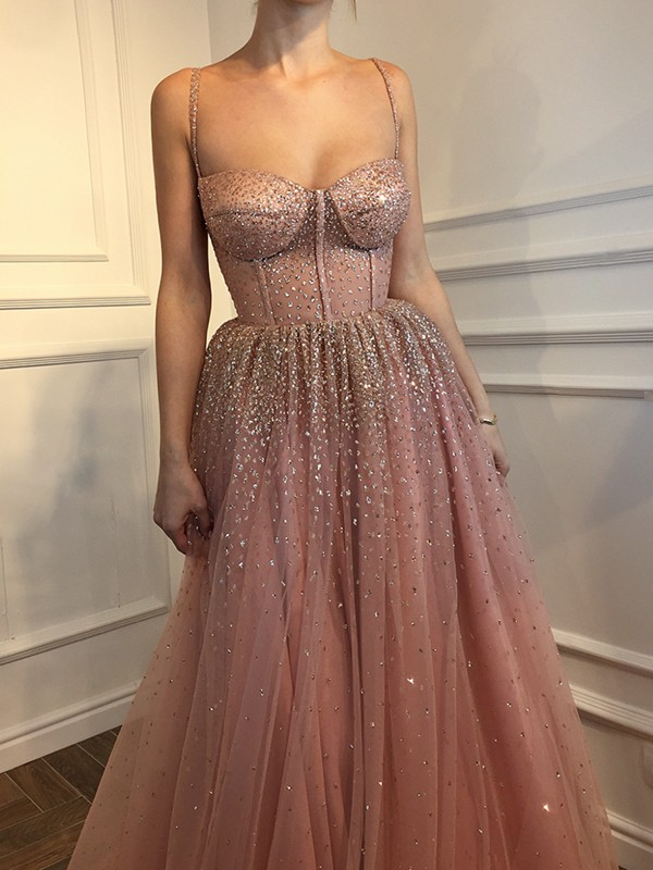 Gorgeous A-Line Sleeveless Spaghetti Straps Floor-Length Tulle Dress
