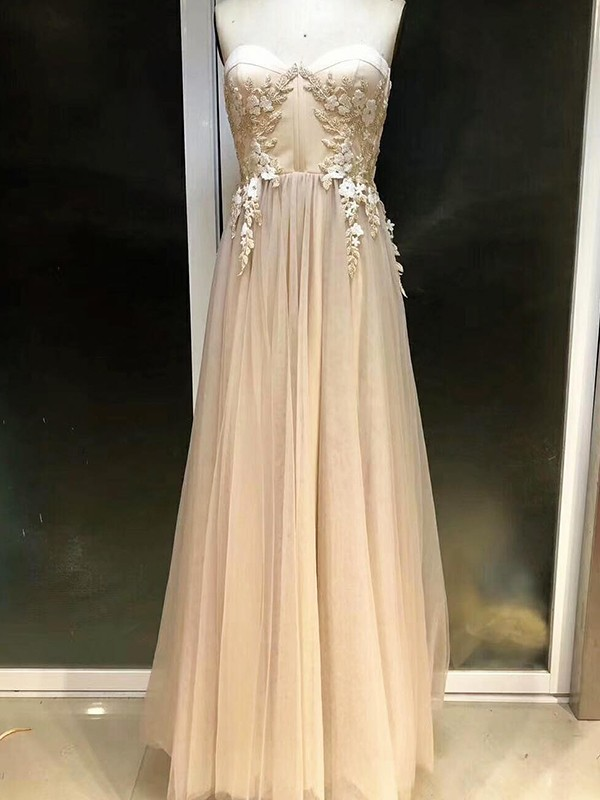 Affordable Empire Sleeveless Sweetheart Floor-Length Tulle Dress