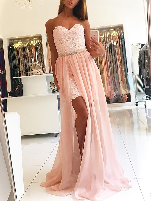 Elegant A-Line Sleeveless Sweetheart Sweep/Brush Train Lace Tulle Dress