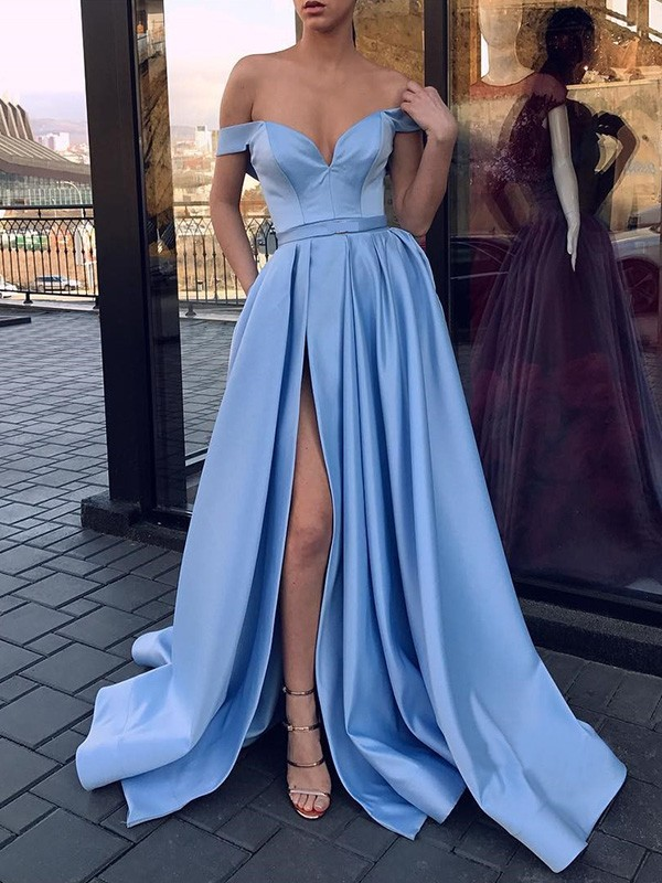 Nice A-Line Sleeveless Off-the-Shoulder Sweep/Brush Train Satin Dress