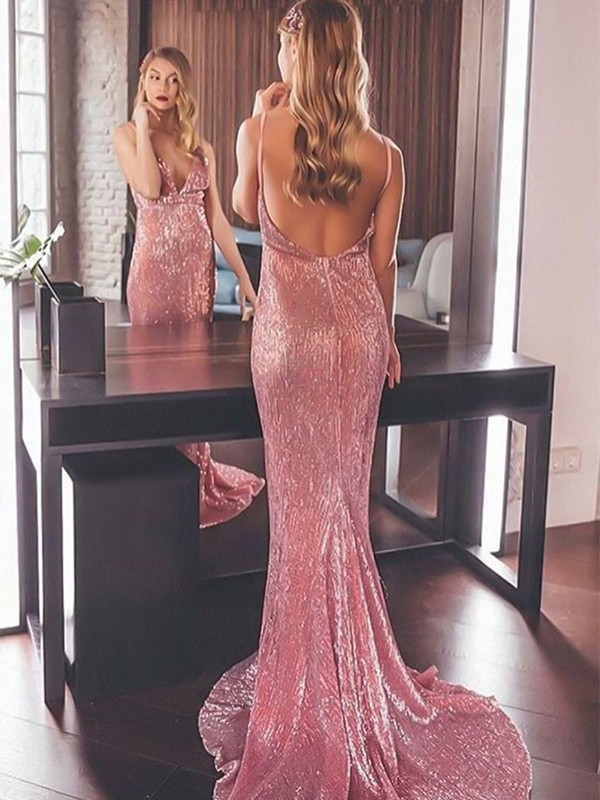 Glamorous Mermaid Sleeveless V-neck Sweep/Brush Train Sequins Dress