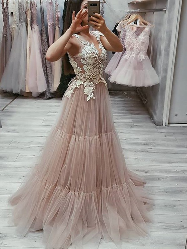 Stunning A-Line Sleeveless V-neck Sweep/Brush Train Tulle Dress