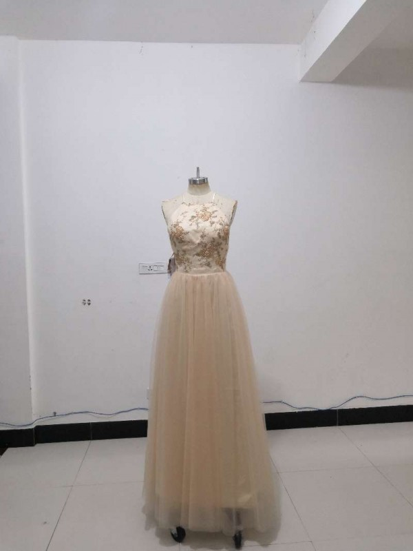 Discount A-Line Sleeveless Halter Floor-Length Tulle Dress