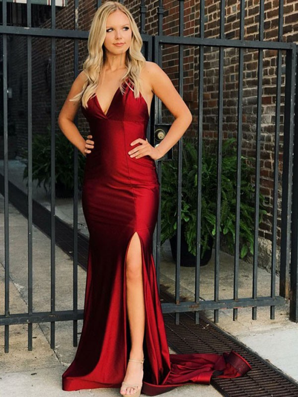 Exquisite Mermaid Sleeveless V-neck Sweep/Brush Train Satin Dress