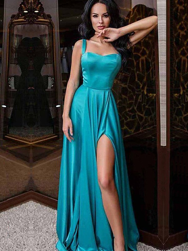 New A-Line Sleeveless Straps Sweep/Brush Train Elastic Woven Satin Dress