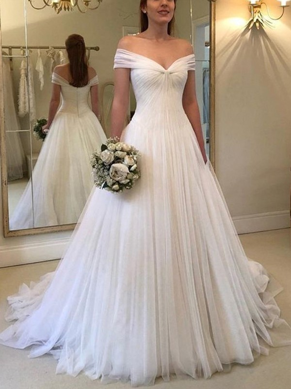 Affordable A-Line Off-the-Shoulder Sleeveless Sweep/Brush Train Tulle Wedding Dress