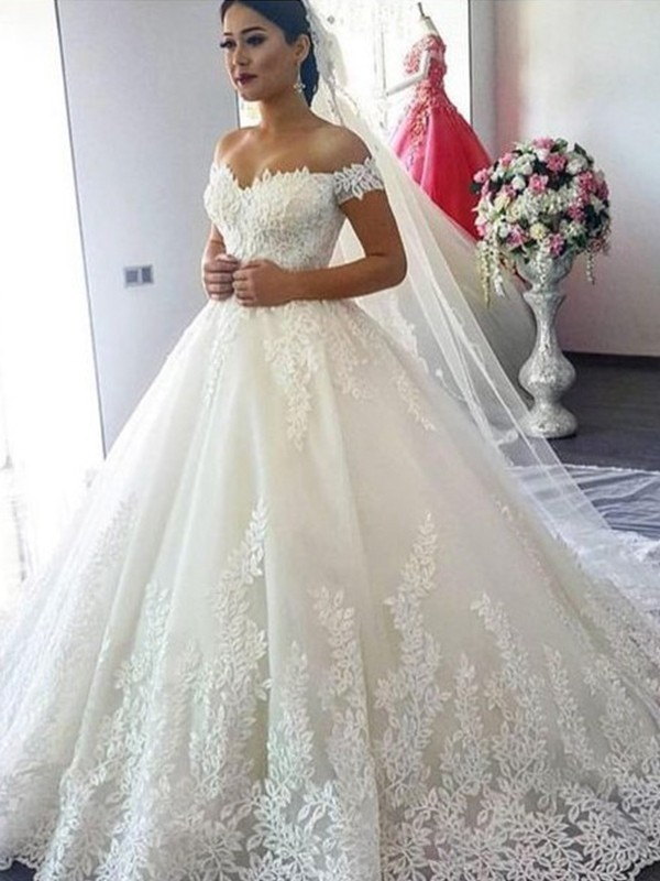 Fashion Ball Gown Off-the-Shoulder Sleeveless Sweep/Brush Train Lace Tulle Wedding Dress
