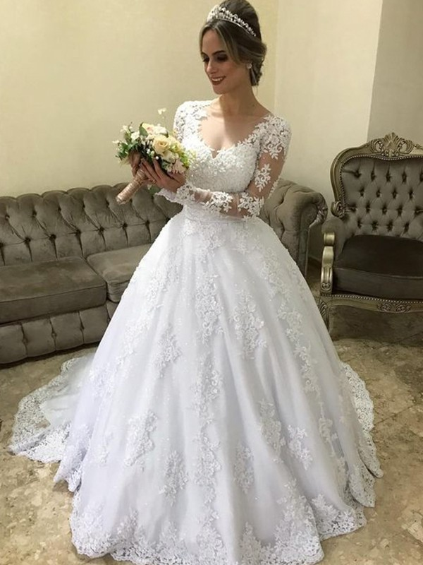 Elegant Ball Gown V-neck Long Sleeves Sweep/Brush Train Satin Wedding Dress