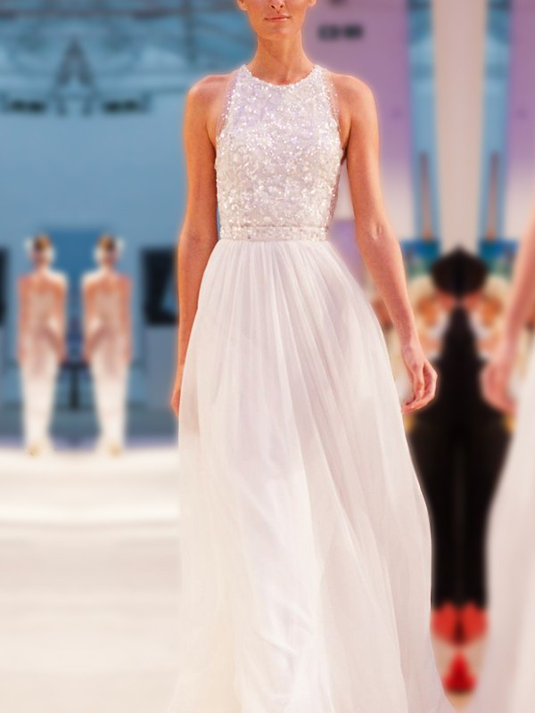 Stunning A-Line Jewel Sleeveless Floor-Length Chiffon Wedding Dress
