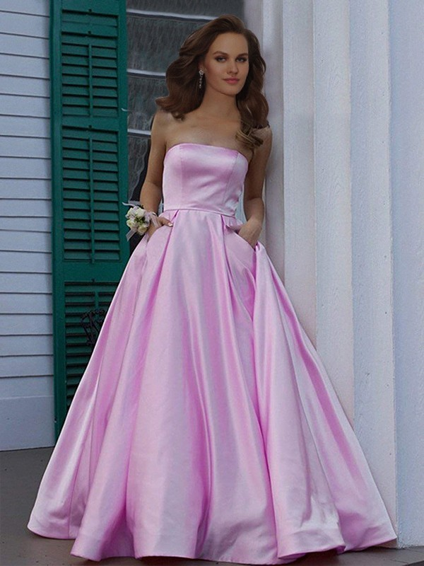 Cheap A-Line Strapless Sleeveless Floor-Length Satin Dress
